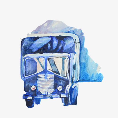 卡车水彩手绘画素材图片