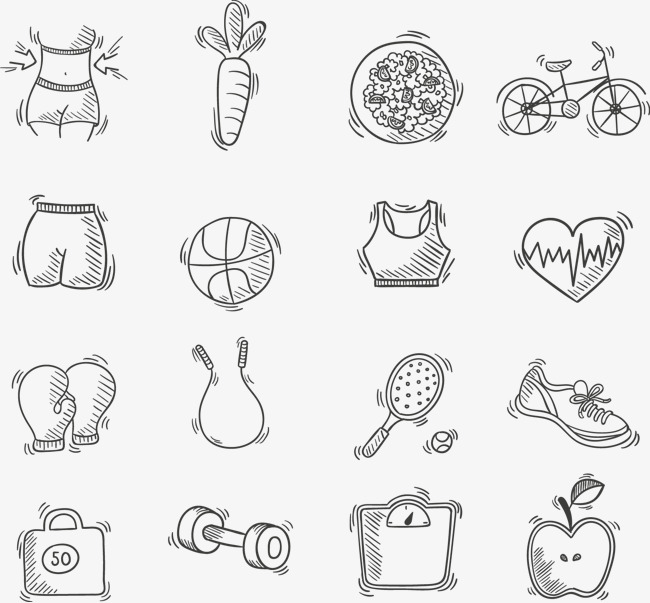 16款手绘健身图标矢量素材【高清装饰元素png素材】