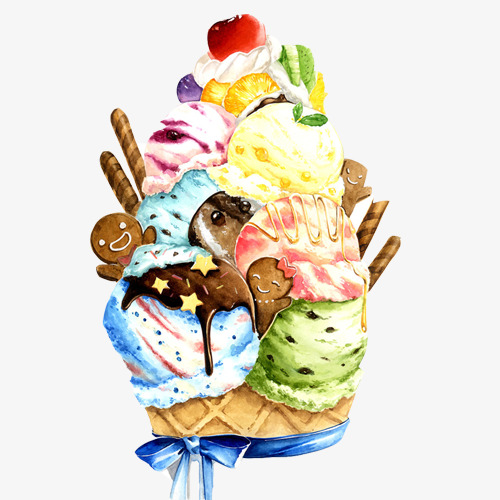 创意冰淇淋水彩手绘画png素材-90设计
