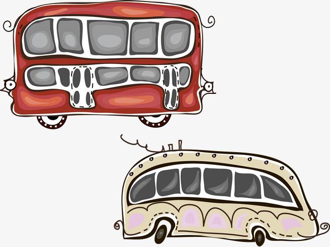 公交车巴士卡通矢量图