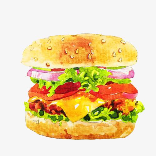 汉堡包水彩手绘画