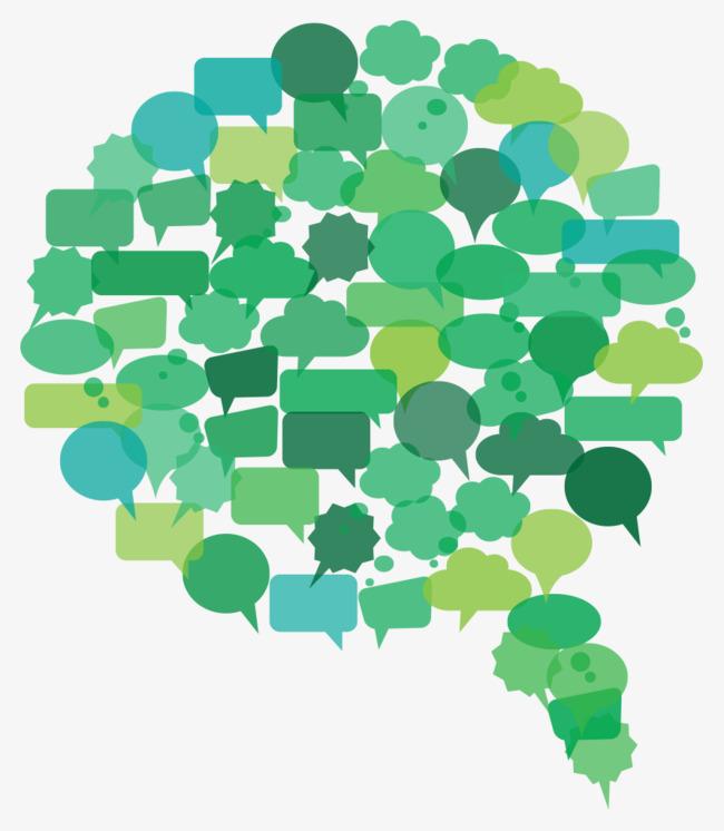 绿色对话框拼合矢量png素材-90设计
