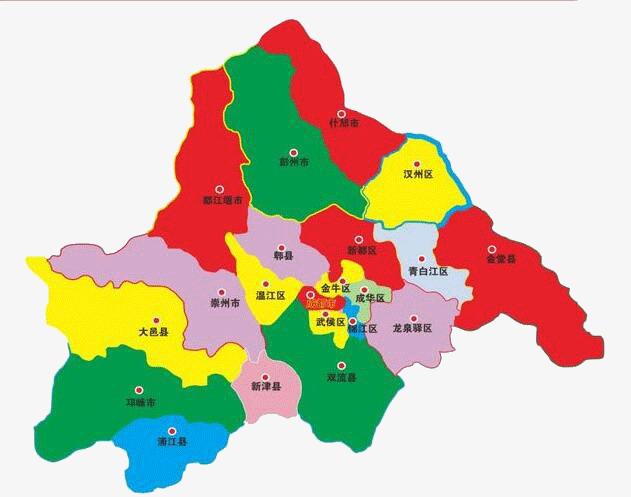 四川彩色行政区地图图片