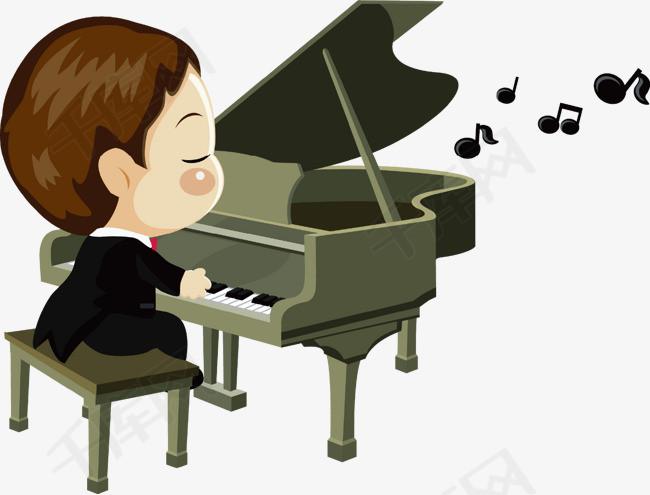 男孩弹钢琴素材图片免费下载 高清卡通手绘psd 千库网 图片编号6556850