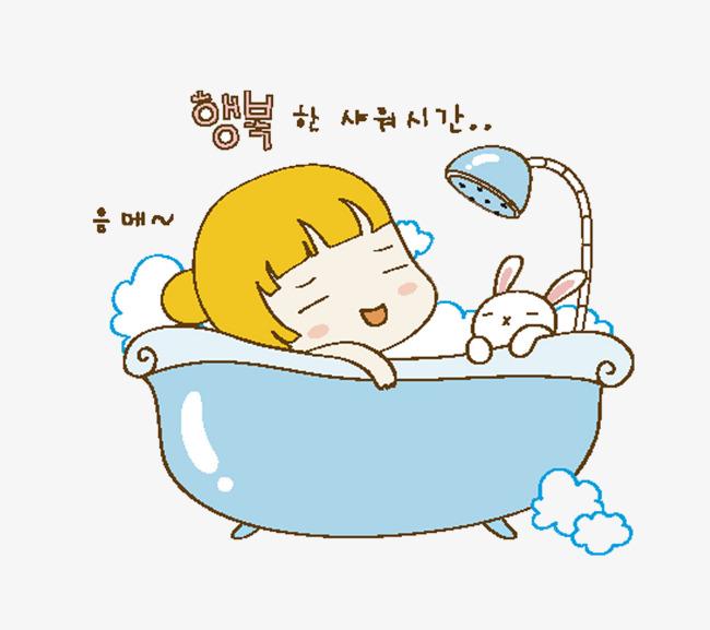 心情好的女宝宝洗澡图片图片