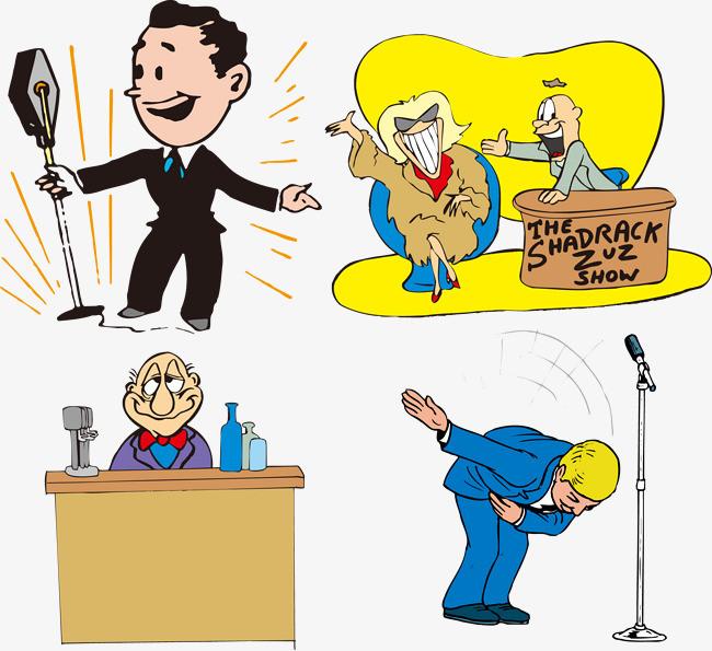 主持人卡通演讲小人矢量可爱图片