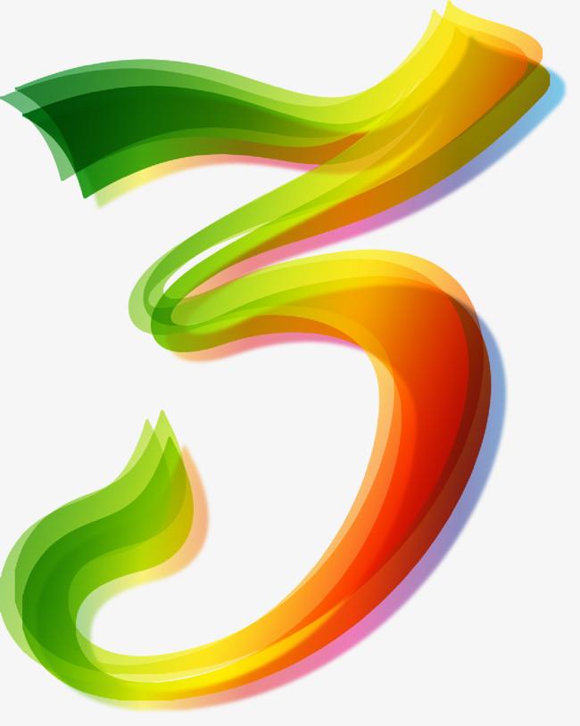 矢量手绘彩色数字3