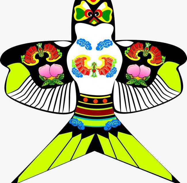 卡通手绘彩色燕子风筝