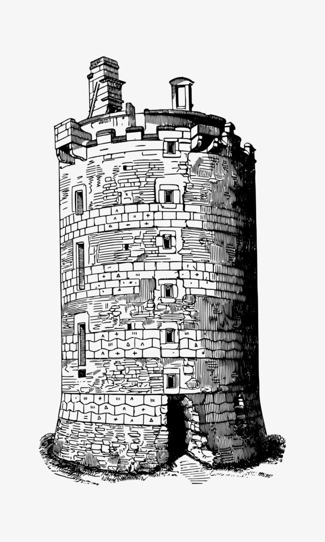 法国城堡手绘png素材-90设计