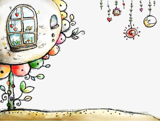 卡通  大树 房子 可爱             此素材是90设计网官方设计出品图片