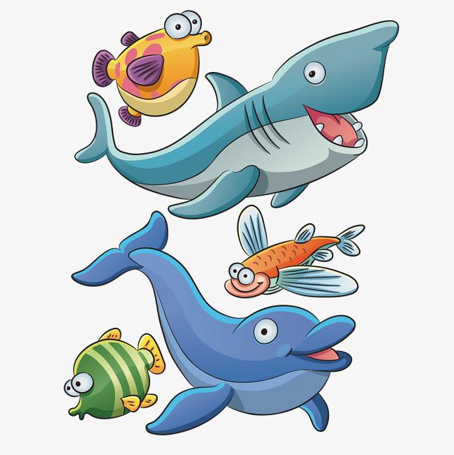 手绘鲨鱼海豚矢量素材
