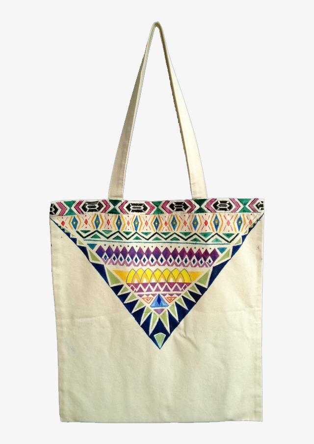 图片 产品实物 > 【png】 手绘花边彩色帆布袋