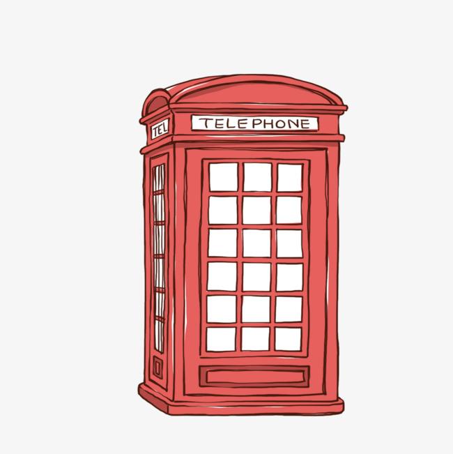 90设计提供高清png手绘动漫素材免费下载,本次红色电话亭作品为设计师