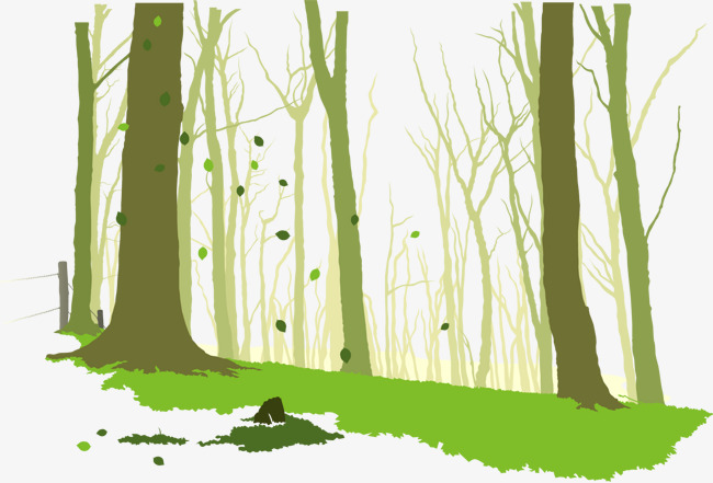 矢量手绘树林