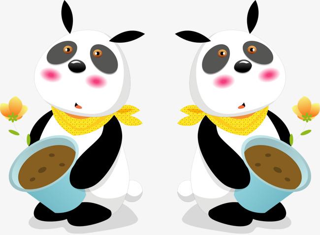 矢量手绘可爱熊猫