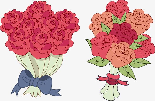 矢量手绘花束
