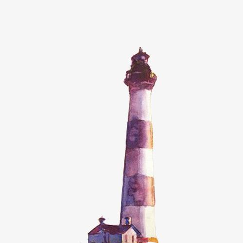 灯塔手绘色彩画素材图片