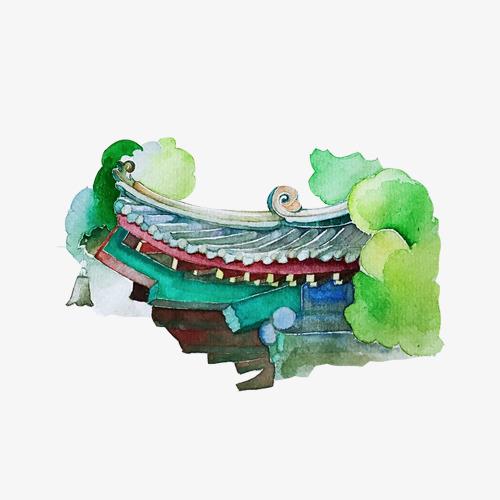 图片 古代屋檐 > 【png】 古代建筑屋檐一角色彩  分类:手绘动漫 类目