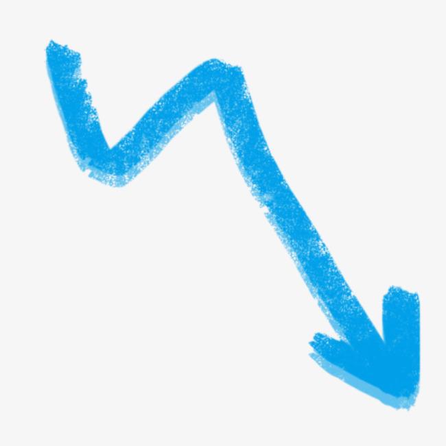 蓝色粉笔箭头免抠图案【高清装饰元素png素材】-90设计