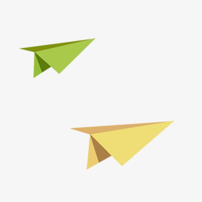 绿色黄色纸飞机免抠素材