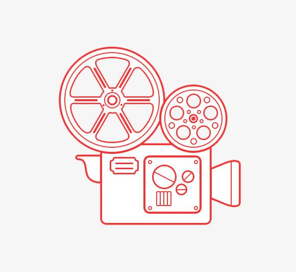 手绘红色电影交卷摄像机简笔画