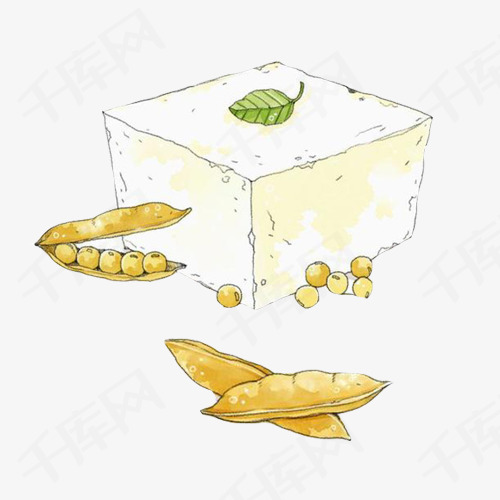 豆腐手绘画素材图片豆腐白色黄豆豆制品大豆