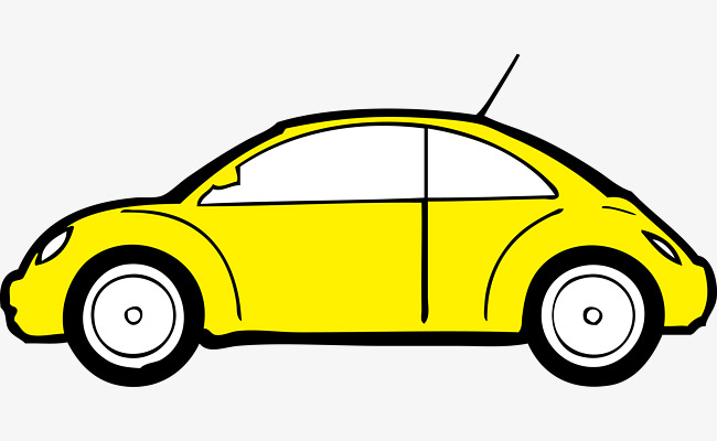 卡通矢量黄色小轿车汽车