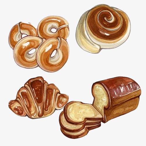 各种面包手绘素材图片