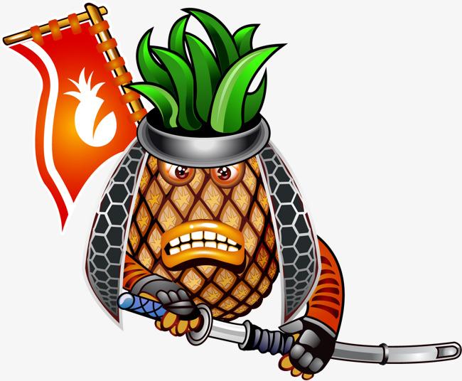 矢量手绘菠萝海盗