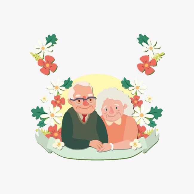 卡通老年人夫妻图片