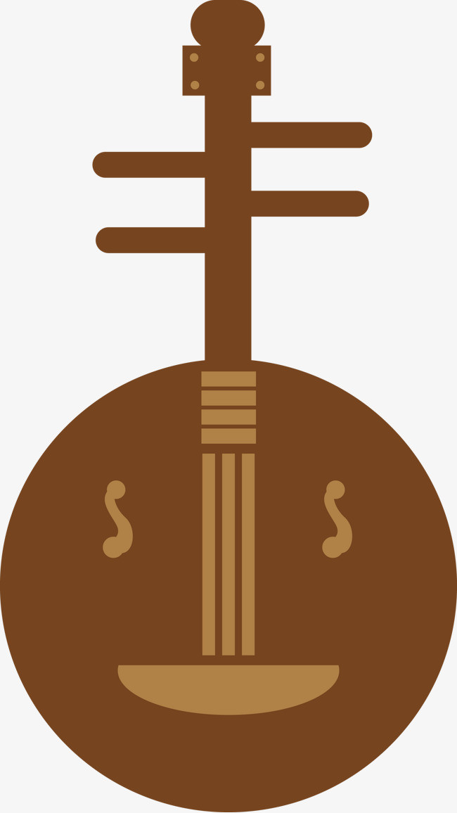 月琴中国古典乐器剪影矢量图【高清png素材】-90设计图片