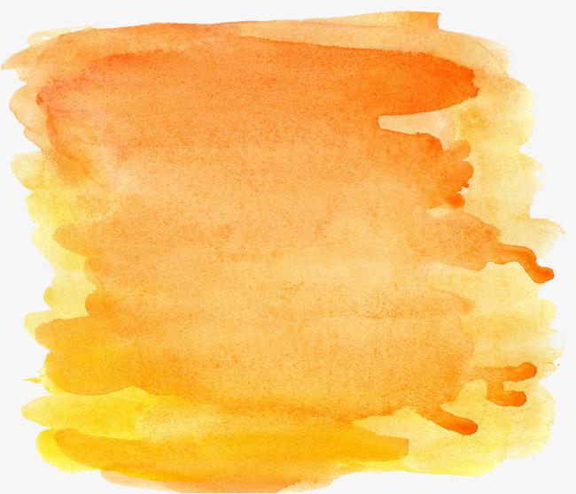 橘黄色渐变水墨画png素材-90设计