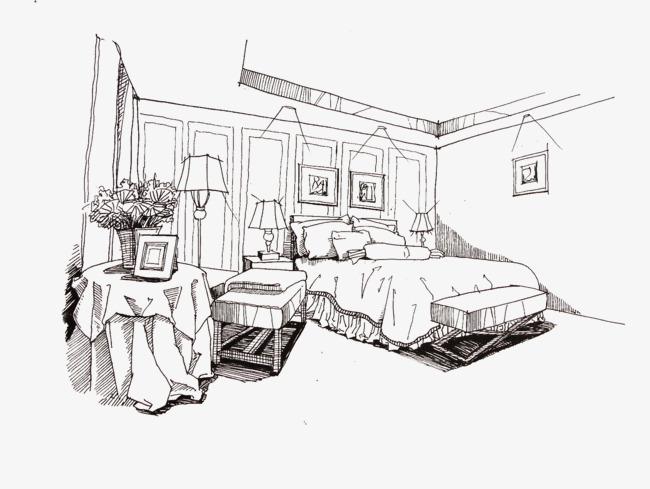 卧室手绘线框图