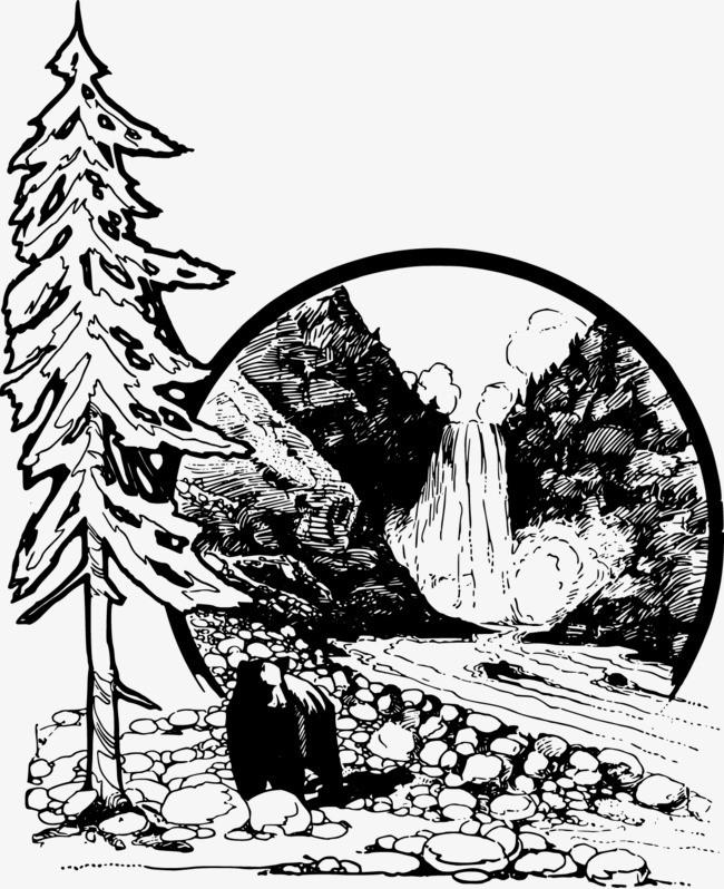 手绘背景_矢量手绘瀑布png素材-90设计