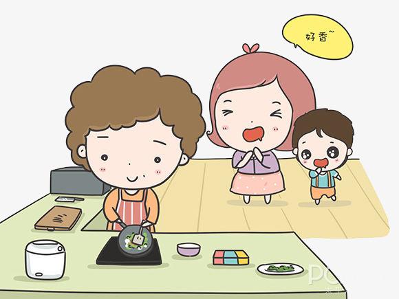做饭 妈妈 卡通 手绘