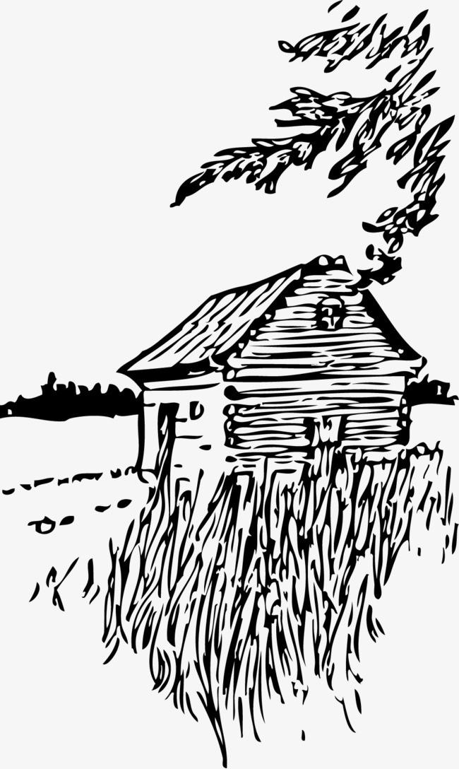 矢量手绘木屋