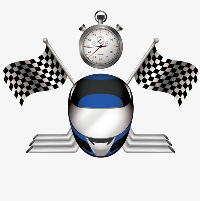 赛车比赛的旗帜头盔和油表矢量图