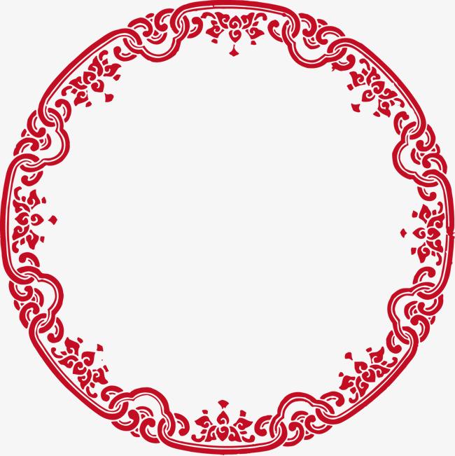 矢量圆形中国风边框