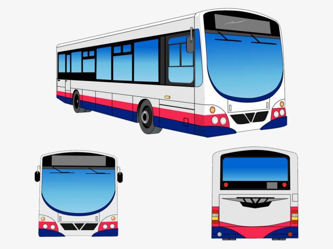 现代城市卡通大巴车素材