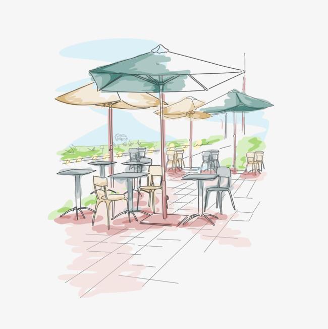 手绘欧式咖啡厅【高清png素材】-90设计