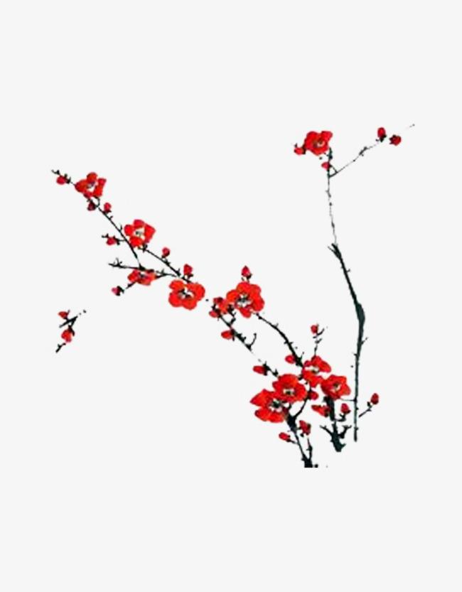 一枝梅花素材图片免费下载 高清装饰图案png 千库网 图片编号6621871