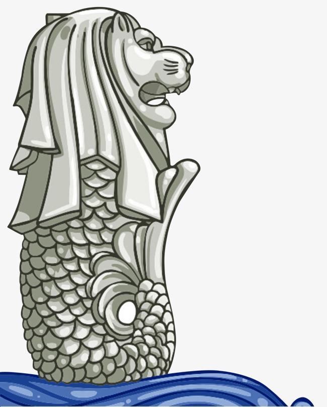 鱼尾狮手绘