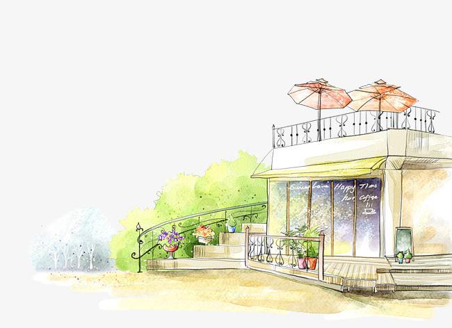 院子 手绘 唯美 小清新             此素材是90设计网官方设计出品