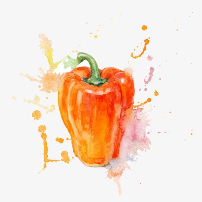 手绘水彩蔬菜辣椒