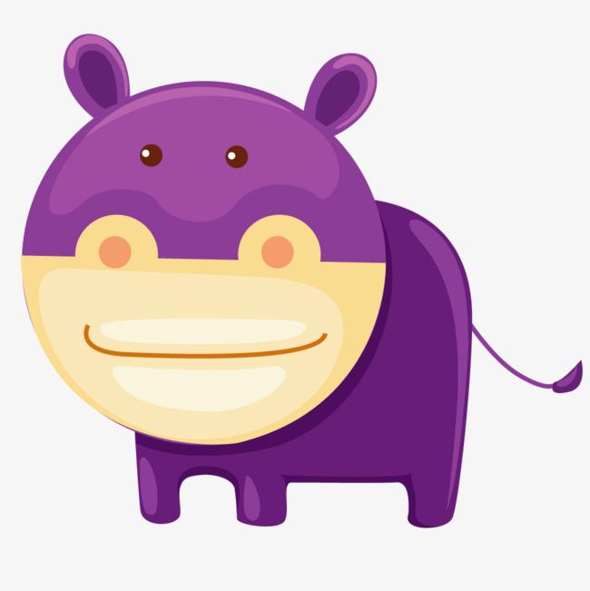 紫色卡通动物河马
