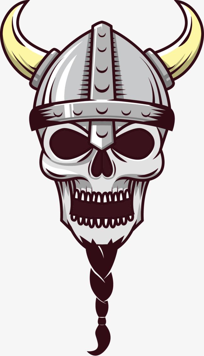 矢量手绘牛角头盔骷髅战士