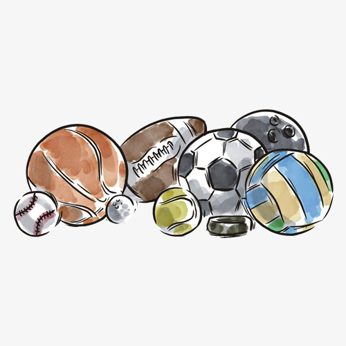 各种球类手绘色彩画