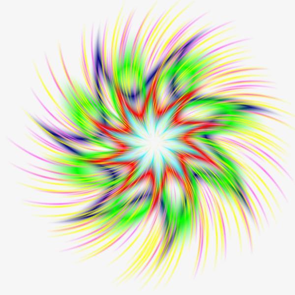 手绘彩色七彩炫光效果
