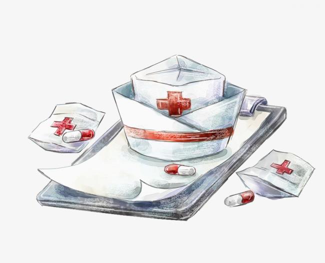 护士帽手绘护士帽病人图表医疗红十字帽子护士帽手绘插画免抠素材-