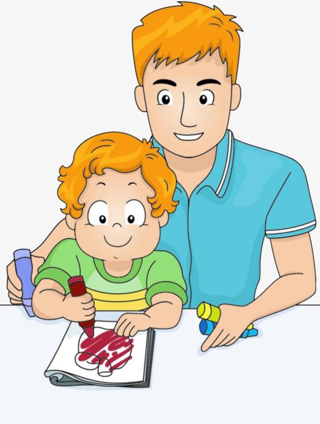 图片 > 【png】 父亲教孩子画画  分类:手绘动漫 类目:其他 格式:png图片